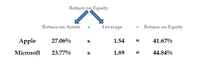 Return on Equity numbers broken into Return on Assets and Leverage numbers