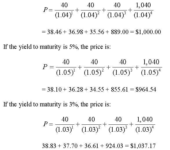 Bond pricing calculator based on current market price and yield.